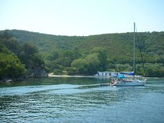One of our only dips in the water.  Skorpios Island, Greece  10.2010