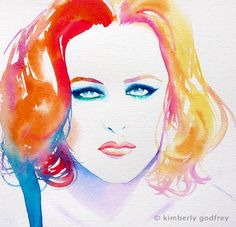 Gillian Anderson Original Watercolour Painting by KimberlyGodfrey
