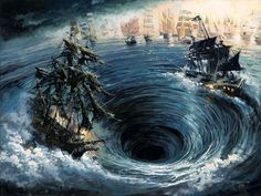 """Battle of Calypso's Maelstrom"" by Rodel Gonzalez - Original Oil on Canvas, 18 x 24.  #Disney #PiratesOfTheCaribbean #DisneyFineArt #RodelGonzalez"