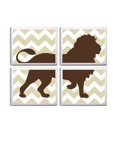 Nursery Art Chevron Boy Girl Lion Safari Zoo Jungle by Zeppi Prints, $56.00