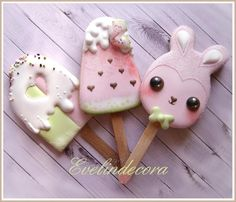 Kawaii popsicle cookies by Evelindecora