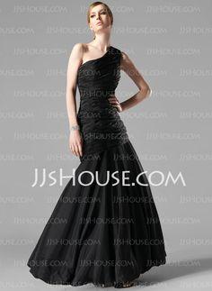 Prom Dresses - $154.99 - Mermaid One-Shoulder Floor-Length Taffeta Prom Dresses With Ruffle (018022534) http://jjshouse.com/Mermaid-One-Shoulder-Floor-Length-Taffeta-Prom-Dresses-With-Ruffle-018022534-g22534
