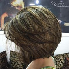 Layered Brown Balayage Bob