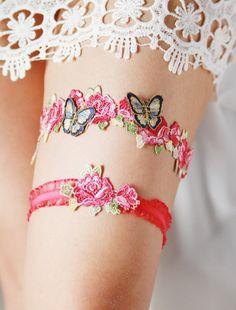 Wedding Garter Bridal Garter Butterfly Garter Set - Alice in Wonderland Wedding Flower Garter Belts - Hot Pink Navy Blue Floral Lace Garter