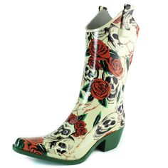 DailyShoes Cowboy Rose Skull Floral Prints High Heel Rain Boots *** Remarkable product available now. : Women's cowboy boots