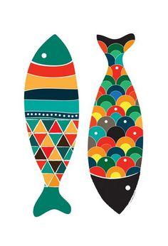 Colorful fish   artist: Dekanimal  http://postercabaret.com/gallery/kiddos/colorful-fish-print-by-dekanimal.html