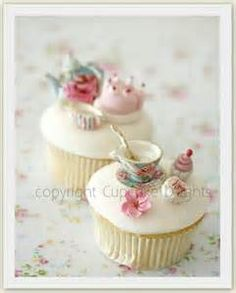 Beautiful tea party cupcake toppers