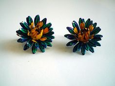 Vintage Green Blue Vivid Flower Earrings Lever Back Style by FoxJewelryBoutique on Etsy