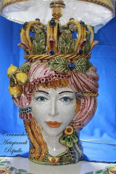Bedside lamp Head Queen ceramic of Caltagirone Lume Testa Regina in Ceramica di Caltagirone