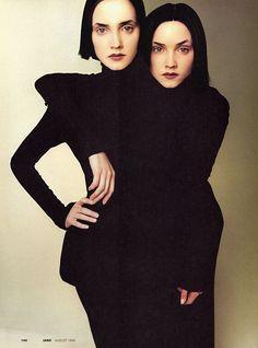 The Eccentrics Jane, August 1998 Photographer: Satoshi Saïkusa Models: Lida Egorova & Alexandra Egorova John Galliano, Fall 1998