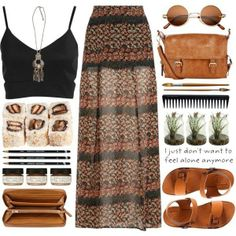 A fashion look from October 2013 featuring bralet tops, chiffon maxi skirt and leather shoes. Browse and shop related looks. Mode Outfits, Casual Outfits, Summer Outfits, Fashion Outfits, Earthy Outfits, Look Boho, Bohemian Style, Boho Chic, Fashion Mode