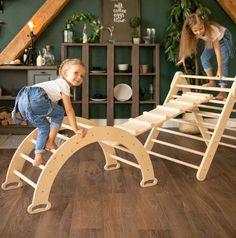 Indoor Swing, Indoor Playground, Toddler Gym, Wooden Swings, Wooden Gazebo, Montessori Toys, Montessori Toddler, Balance Board, Bed Furniture