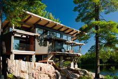 Beautiful Modern Pier One Model Designed by Discovery Dream Homes.  #Log #Timberframe #Custom #Modern #PierOne #Contemporary #DiscoveryDreamHomes