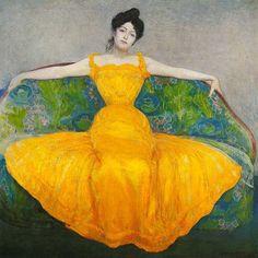 Max Kurzweil Dame in Gelb. Art Nouveau, Art Deco, Art And Illustration, Portrait Art, Portraits, Vienna Museum, Auras, Mellow Yellow, Vincent Van Gogh