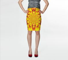 """Fitted+Skirt+""""Lotus+in+Yellow+Satin+""""+by+Sherrie+Larch"""