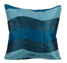 Teal Waves- Shades of Teal Blue Silk Throw Pillow Cover.