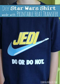 DIY Star Wars Shirt made with Printable Heat Transfer Material from Silhouette.Cut out image and iron on to shirt, such an easy way to make a Star Wars Jedi Shirt.