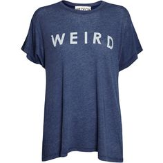 Wildfox Weird Tee - City Night (115 AUD) ❤ liked on Polyvore featuring tops, t-shirts, shirts, blusas, city night, round neck t shirt, blue shirt, loose shirts, slogan shirts and loose tops