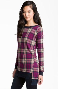 Trouvé Plaid Tunic Sweater available at #Nordstrom -- cute! perfect for fall outings or cozy holiday nights at home