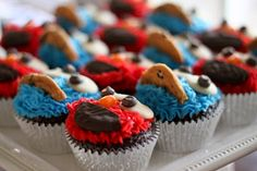 Easy Elmo & Cookie Monster Cupcakes - Piece of Cake!