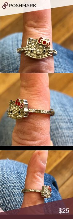 Hello Kitty Rhinestone Ring, size 7 This ring has a few stones missing. Look closely at the pics. I'm the past I've had one or two replaced at a local jeweler. It was inexpensive and no trouble. It's size 7 with a ring sizer in it to make it a tiny bit smaller. Comes with box. I love this ring but it was given to me by an ex for valentines last year. It's a reminder I don't want in my jewelry box. She's pretty cute tho Hello Kitty Jewelry Rings
