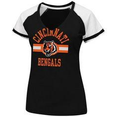 Cincinnati Bengals Ladies Raglan V-Neck T-Shirt - Black/White