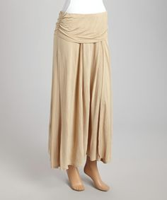 Another great find on #zulily! Beige Fold-Over Maxi Skirt - Women #zulilyfinds