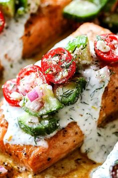 Baked Salmon with Dill Sauce is wonderfully healthy, gloriously flavorful and deeply satisfying! This Baked Salmon with Dill Sauce is a delightful sym. Baked Salmon Recipes, Fish Recipes, Seafood Recipes, Dinner Recipes, Dinner Ideas, Recipes With Dill, Yummy Recipes, Seafood Dishes, Sauce Recipes