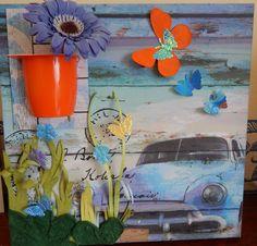 une feuille de papier décorée, un demi pot de yaourt, le tour un joué !!!
