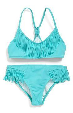 Billabong Fringe Bikini (Big Girls) available at Swimming Outfit, Swimming Costume, Summer Swimwear, Kids Swimwear, Summer Outfits, Girl Outfits, Cute Bathing Suits, Beach Shirts, Cute Swimsuits