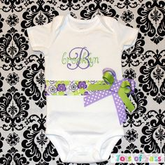CUSTOM Baby Girl Onesie or toddler Shirt With Name by TotsOfSass, $26.00