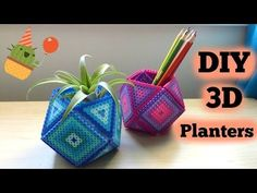 DIY 3D Perler Bead Geometric Planters - YouTube