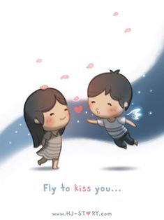 Fly to kiss you is part of Hj story - Sometimes I wish I can fly… part of the HJS postcard set Hj Story, Love Is Everything, What Is Love, Crazy Love, Love Is Sweet, Cute Love Stories, Love Story, Anime Chibi, Chibi Cat