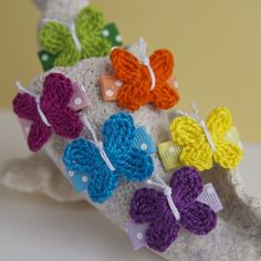 Set of 6 Crochet Butterfly Snap Clips- Bright Colors-tiny, crochet butterfly, bright, fun, gift set
