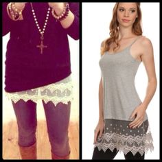 """❗️4 COLORS❗️ Lace Crochet Tunic Extender Cami Top Brand new lace extender top. Genius idea to extend your shorter tops or to give your basic tops some more detail! Also can wear alone. Available colors and sizes: WHITE: S or M. BLACK: S or M. GRAY: S. MAUVE PINK: S M L. Small: From armpit to armpit across unstretched: 14.5"""" Max stretch: 18""""    Medium: From armpit to armpit across unstretched: 15.5"""" Max stretch: 20""""    Large: From armpit to armpit across unstretched: 16"""" Max stretch: 22""""…"""