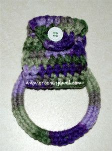 Crochet Towel Holder      //     Crocheted over a metal or plastic ring.