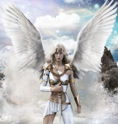 f Angel Warrior Longsword Amriel by MLauviah lg Fantasy Girl, Fantasy Art Women, Fantasy Warrior, Fantasy Characters, Female Characters, Angel Artwork, Angel Warrior, Warrior Girl, Ange Demon