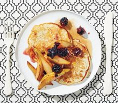 buttermilk pancakes with pan-fried pears and blackberries/ sounds good may just do the fruit from scratch