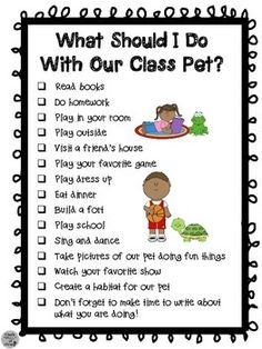 Class Pet Journal Kids bring it home over the weekend and write ...