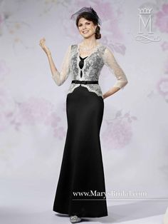 Satin Gown with Sheer Lace Sleeves & Bow Belt