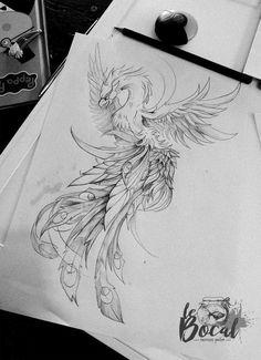 #phoenix #phoenixtattoo #lebocaltattooshop #zombilili Simbols Tattoo, Raven Tattoo, Tattoo Outline, Tattoo Shop, Leg Tattoos, Body Art Tattoos, Sleeve Tattoos, Cool Tattoos, Tatoos