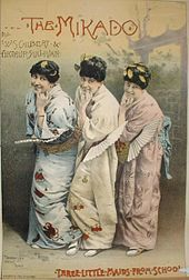 """Gilbert and Sullivan - Lithograph of the """"Three Little Maids"""" from The Mikado"""
