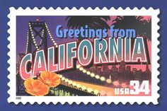 Postage stamp commemorating the state of California, US posage