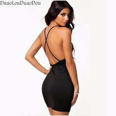 Nightclub style sexy cross harness Women dresses pure color Slim body Bare back