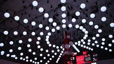 Kinetic Lights Installation with DMX winch system and motorized RGB led light balls for Vodafone @ IFA 2013