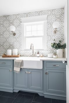 4 Spaces To Add The Effect Of Wallpaper With Tile - The Tile Shop Blog Laundry Room Cabinets, Laundry Room Tile, Blue Cabinets, Cupboards, Colored Cabinets, Laundry Room Design, Kitchen Cabinets, Baden, Benjamin Moore Cabinet Paint