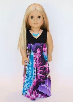 American girl doll Salina maxi dress feather by EverydayDollwear, Ropa American Girl, American Girl Doll Bed, My American Girl Doll, American Girl Crafts, American Doll Clothes, Ag Doll Clothes, Doll Clothes Patterns, Doll Patterns, Dress Patterns