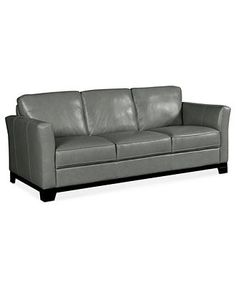 Townsend Square Arm Leather Grand Sofa, Polyester Wrapped Cushions ...