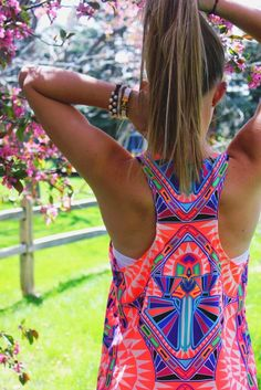 Patterned Neon Racerback