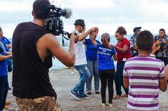 Jasyn filming calypso band & Rose & Carlos & Locals by the seafront downtown Limon